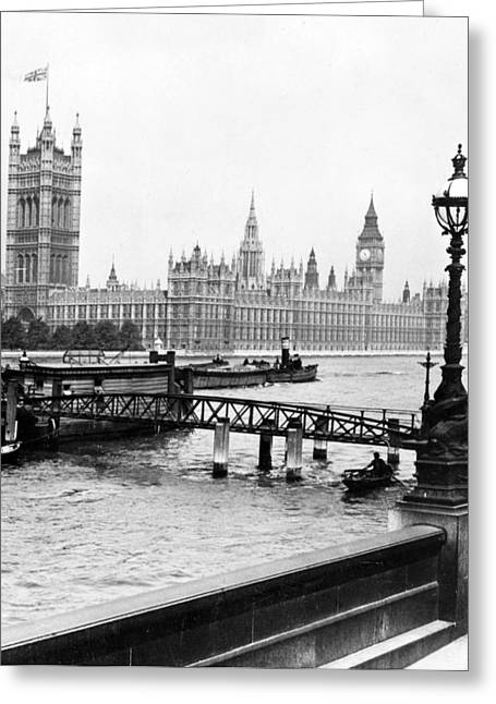 British Royalty Greeting Cards - London England - House of Parliament - c 1909 Greeting Card by International  Images