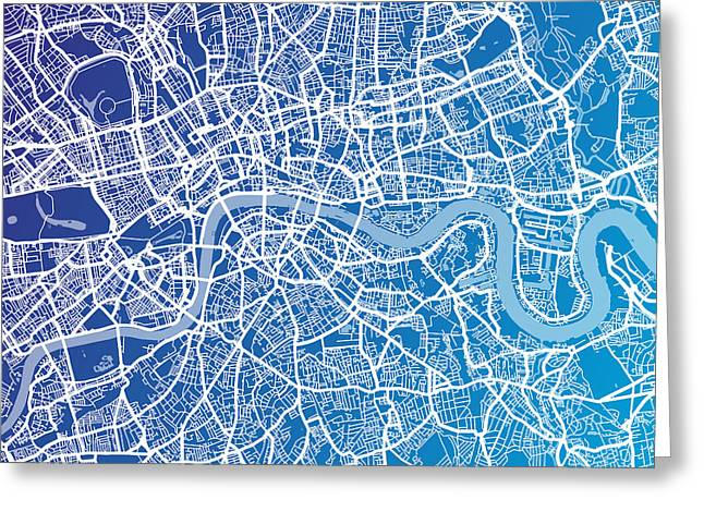 England Map Greeting Cards - London England Street Map Greeting Card by Michael Tompsett