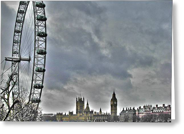 Londoneye Greeting Cards - London Eye and Parliament Greeting Card by Jack Schultz