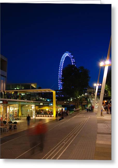 Ferris Wheel Night Photography Greeting Cards - London Eye At Night Greeting Card by David Waldo