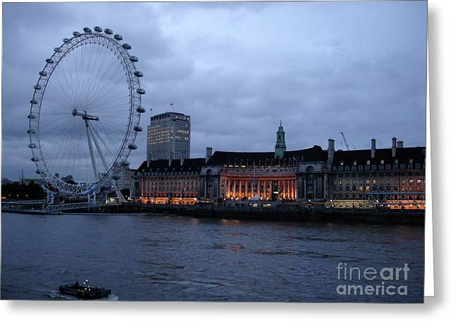 London Pyrography Greeting Cards - London eye Greeting Card by Barbara Carretta