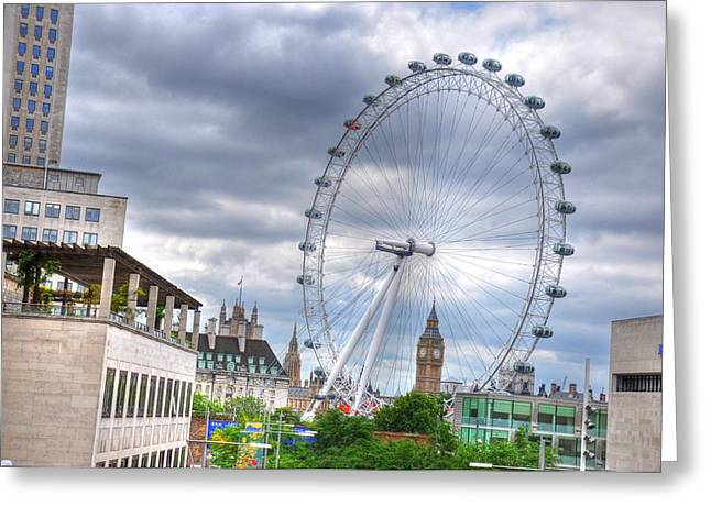 Village By The Sea Greeting Cards - London Eye Greeting Card by Barry R Jones Jr