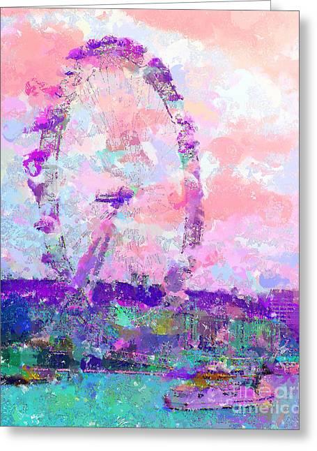 Best Sellers -  - Marilyn Sholin Greeting Cards - London Eye Greeting Card by Marilyn Sholin