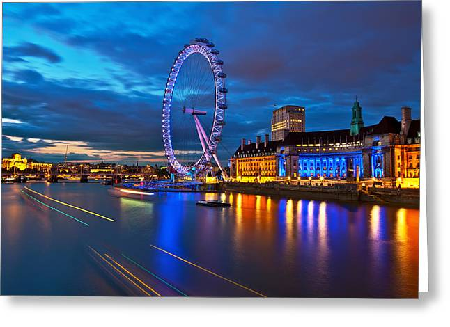 Londoneye Greeting Cards - london Eye Nightscape Greeting Card by Arthit Somsakul