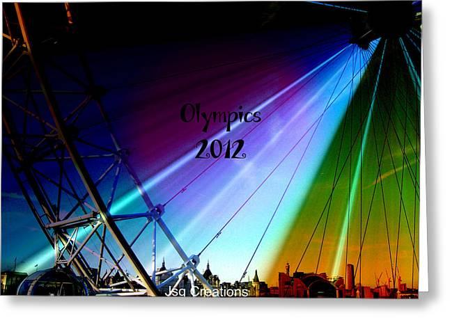 Jan Steadman-jackson Greeting Cards - London Eye Olympics 2012 Greeting Card by Jan Steadman-Jackson
