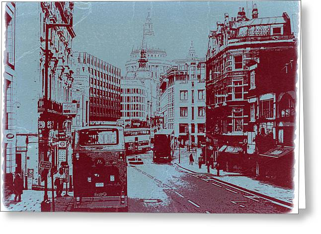 Old Digital Greeting Cards - London Fleet Street Greeting Card by Naxart Studio