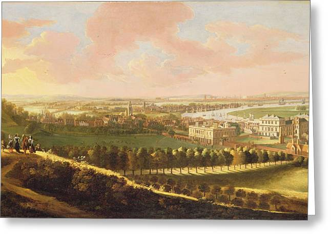 English School; (17th Century) Greeting Cards - London from Greenwich Hill Greeting Card by  English School