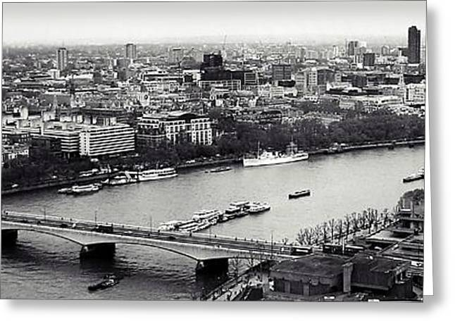 Arial Greeting Cards - London in a click Greeting Card by Sharon Lisa Clarke