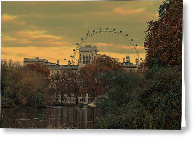 Twilight Pyrography Greeting Cards - London Greeting Card by Julianna Horvath