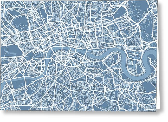 London Map Art Steel Blue Greeting Card by Michael Tompsett