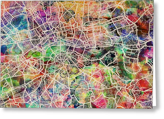 Capitals Greeting Cards - London Map Art Watercolor Greeting Card by Michael Tompsett