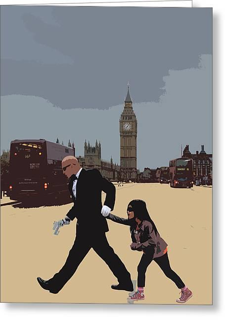 Matrix Greeting Cards - London Matrix Baddie Agent Smith Greeting Card by Jasna Buncic