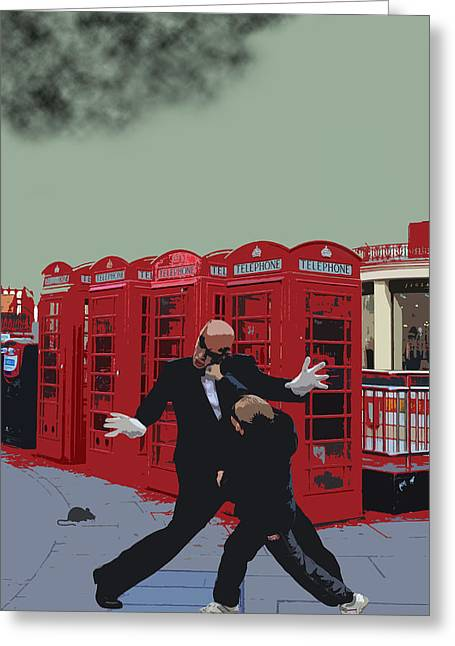 Fist Greeting Cards - London Matrix Punching Mr Smith Greeting Card by Jasna Buncic