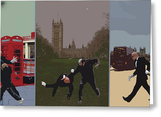 Punch Greeting Cards - London Matrix triptych Greeting Card by Jasna Buncic