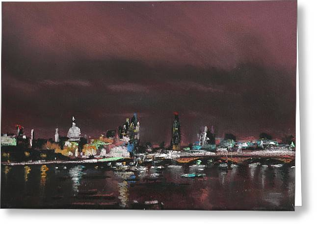 Urban Buildings Pastels Greeting Cards - London Night Skyline 1 Greeting Card by Paul Mitchell