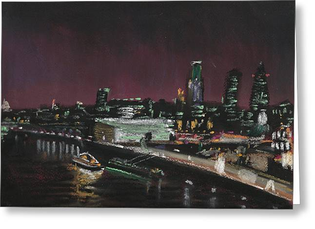 London Pastels Greeting Cards - London Night Skyline 2 Greeting Card by Paul Mitchell
