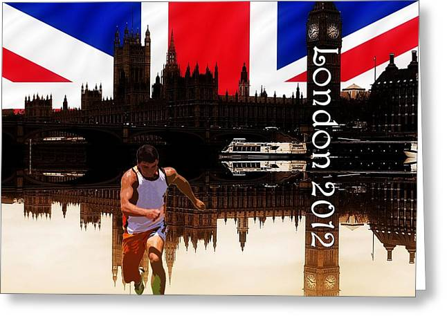 Sprinter Greeting Cards - London Olympics 2012 Greeting Card by Sharon Lisa Clarke