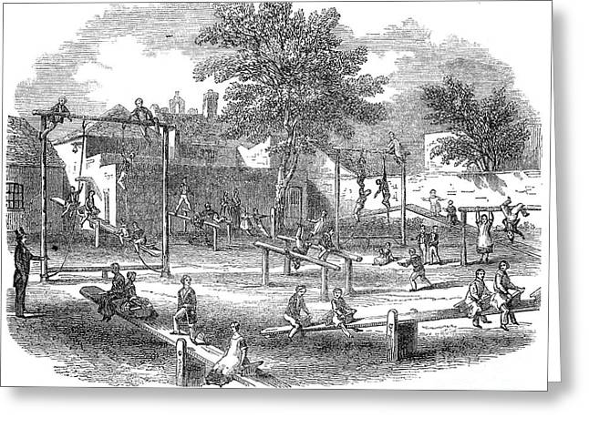Schoolyard Game Greeting Cards - London Playground, 1843 Greeting Card by Granger