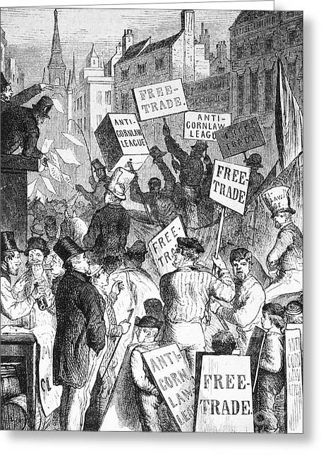 Political Rally Greeting Cards - LONDON: PROTEST, 1840s Greeting Card by Granger