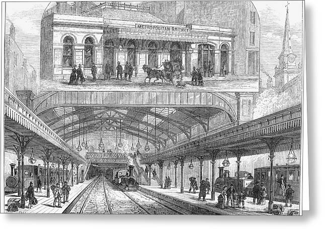LONDON: RAILWAY, 1876 Greeting Card by Granger