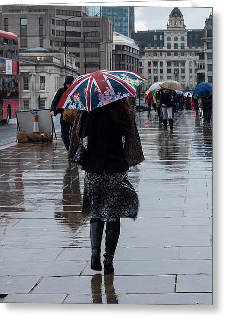Continuing Greeting Cards - London Rain Greeting Card by Dawn OConnor