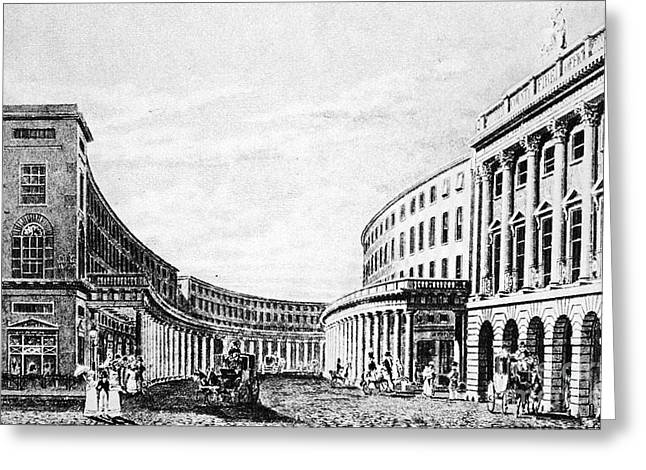 1828 Greeting Cards - London: Regent Street 1828 Greeting Card by Granger