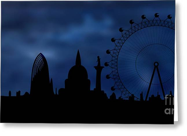 Tremendous Greeting Cards - London skyline - night Greeting Card by Michal Boubin