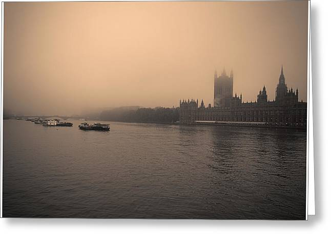 Runnycustard Greeting Cards - London Smog/Fog Greeting Card by Lenny Carter