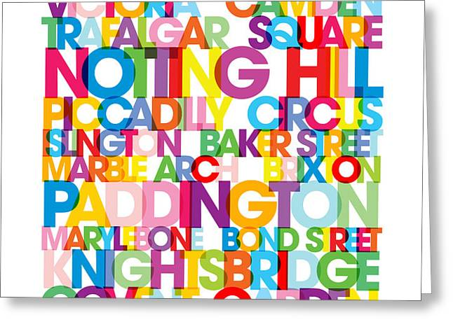 London Text Bus Blind Greeting Card by Michael Tompsett