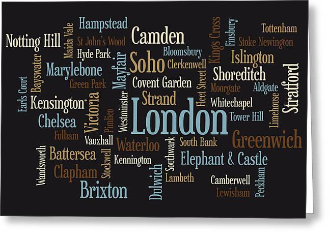 Chelsea Digital Art Greeting Cards - London Text Map Greeting Card by Michael Tompsett