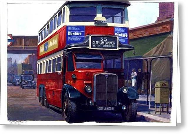 1930s Paintings Greeting Cards - London Transport Renown Greeting Card by Mike  Jeffries