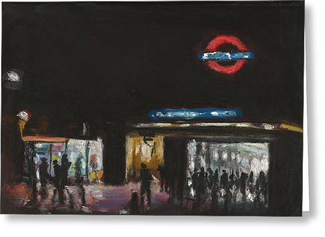 London Pastels Greeting Cards - London Tube 1 Greeting Card by Paul Mitchell