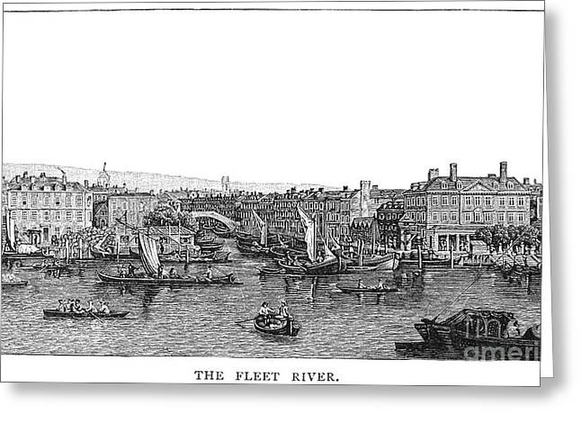 1750 Greeting Cards - London: Waterfront, 1750 Greeting Card by Granger
