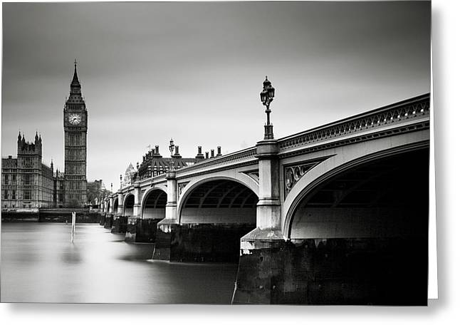 Monochrome Greeting Cards - London Westminster Greeting Card by Nina Papiorek
