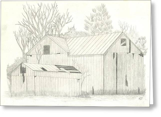 Old Barn Drawing Greeting Cards - Lone Barn Greeting Card by Keith Sachs