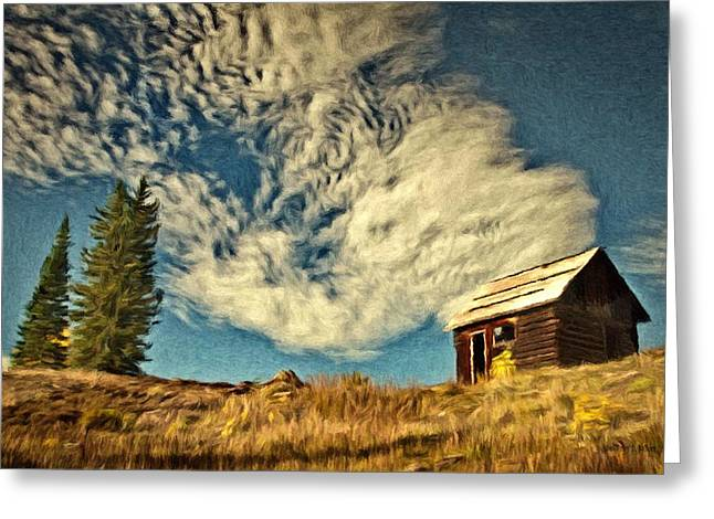Conifer Greeting Cards - Lone Cabin Greeting Card by Jeff Kolker