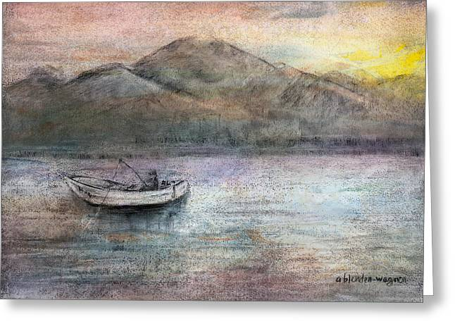 Fishermen Pastels Greeting Cards - Lone Fisherman Greeting Card by Arline Wagner