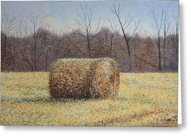 Patsy Sharpe Paintings Greeting Cards - Lone Haybale Greeting Card by Patsy Sharpe