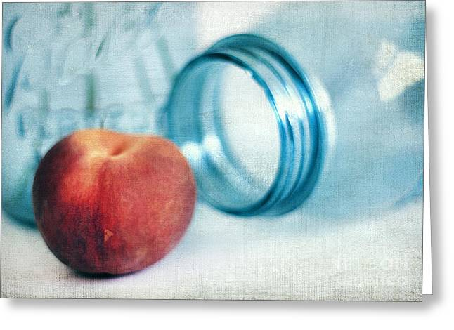 Canned Fruit Greeting Cards - Lone Peach Greeting Card by Darren Fisher