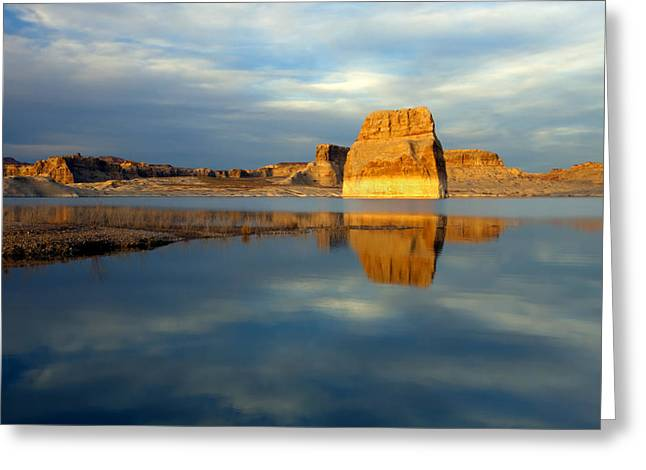 Lone Greeting Cards - Lone Rock Glow Greeting Card by Mike  Dawson