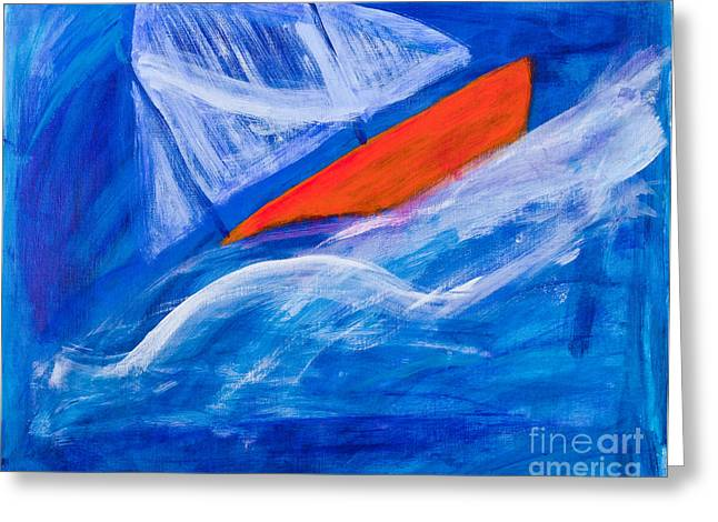 Water Vessels Greeting Cards - Lone sailing boat at sea Greeting Card by Simon Bratt Photography LRPS