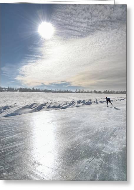 Ice-skating Greeting Cards - Lone Speed Skater On Sylvan Lake Greeting Card by Jerry Kobalenko