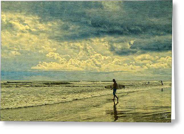 Lone Surfer Greeting Card by Barbara Middleton