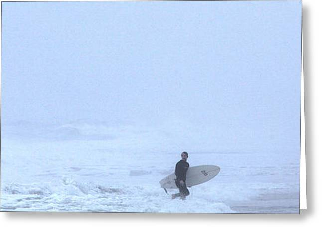 York Beach Greeting Cards - Lone Surfer Greeting Card by Steve Gravano