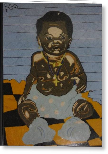 Babies Tapestries - Textiles Greeting Cards - Lonely baby Greeting Card by Richmond Agbesi