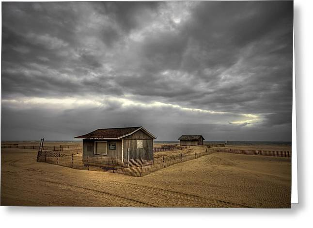 York Beach Greeting Cards - Lonely Beach Shacks Greeting Card by Evelina Kremsdorf