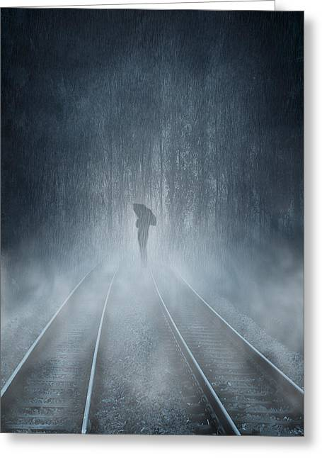 Fog Mixed Media Greeting Cards - Lonely Figure Greeting Card by Svetlana Sewell