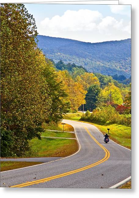 Susan Leggett Greeting Cards - Lonely Motorcycle Greeting Card by Susan Leggett