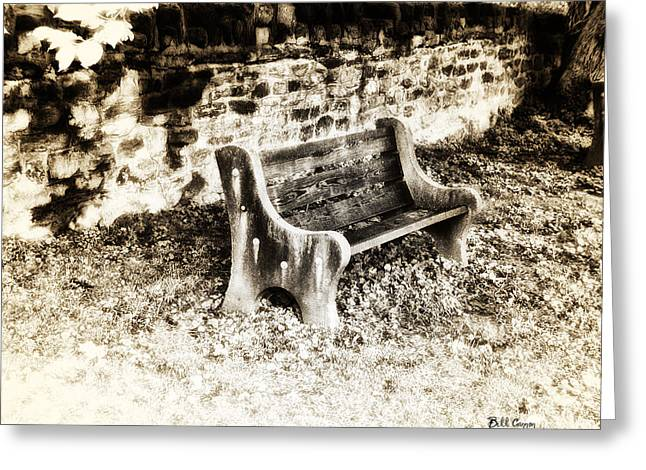 Park Benches Greeting Cards - Lonely Park Bench Greeting Card by Bill Cannon