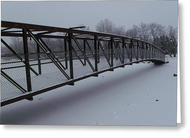 Lonely Winter Bridge Greeting Card by Brian  Maloney